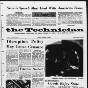 Technician, Vol. 54 No. 21 [Vol. 50 No. 21], November 3, 1969