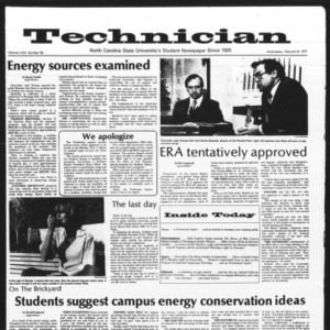 Technician, Vol. 58 No. 55 [Vol. 57 No. 55], February 9, 1977