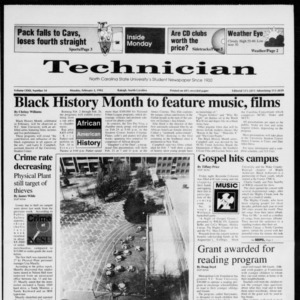 Technician, Vol. 72 No. 54, February 3, 1992