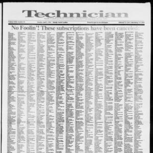 Technician, Vol. 72 No. 93, April 1, 1991