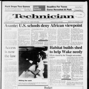 Technician, Vol. 72 No. 99, April 15, 1991