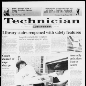 Technician, Vol. 73 No. 1, August 19, 1992