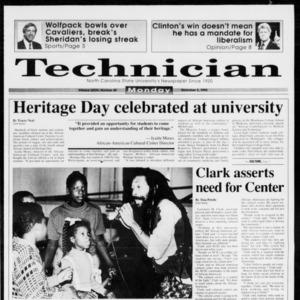 Technician, Vol. 73 No. 40, November 9, 1992