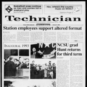 Technician, Vol. 73 No. 54, January 11, 1993