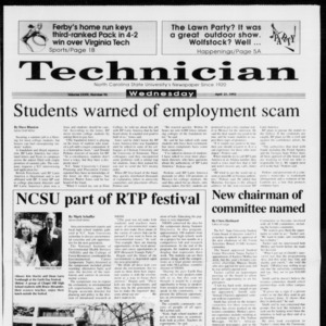 Technician, Vol. 73 No. 95, April 21, 1993