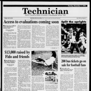 Technician, Vol. 75 No. 31, November 7, 1994