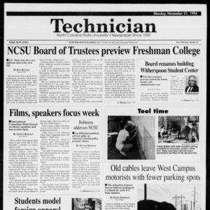 Technician, Vol. 75 No. 37, November 21, 1994