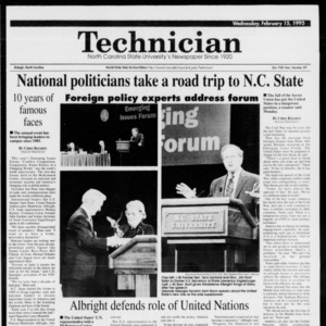 Technician, Vol. 75 No. 59, February 15, 1995