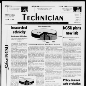 Technician, Vol. 78 No. 51, January 14, 1998