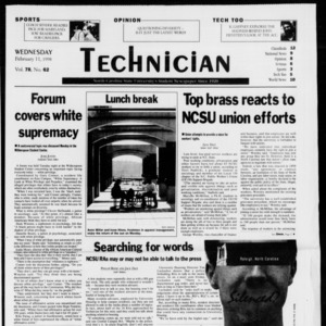 Technician, Vol. 78 No. 62, February 11, 1998