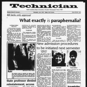Technician, Vol. 7 No. 2 [Summer 1981 No. 2], June 3, 1981
