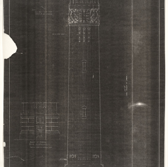 Memorial Bell Tower - Memorial Chime and Clock Tower - Architectural Drawings (Wm. Henry Deacy, Architect)