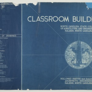 Harrelson Hall Classroom Building -- Title Page and Index of Drawings