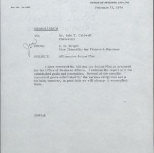 Affirmative Action Plan, Endorsements :: Correspondence