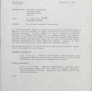 African American Lecture Series, William E. Sedlacek :: Correspondence