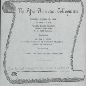 Afro-American Colloquium :: Correspondence
