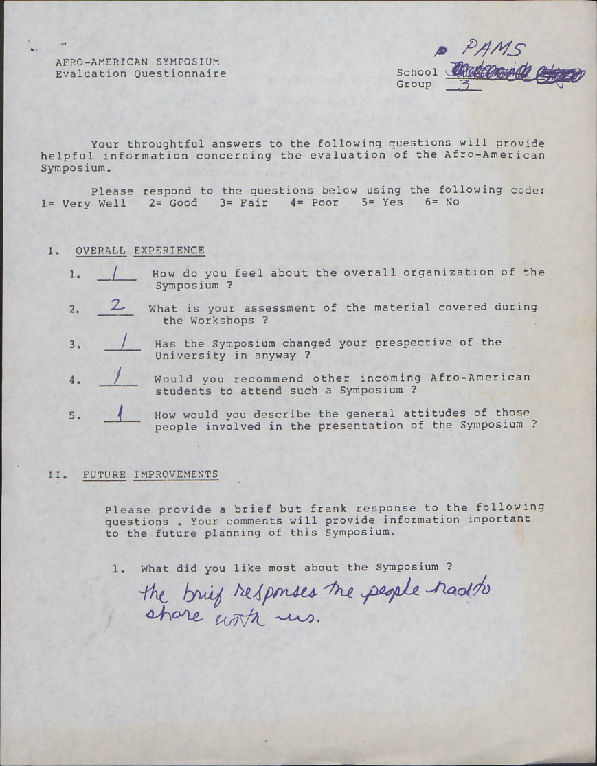 Afro-American Symposium, Evaluation Questionnaire (1 of 2) :: Correspondence