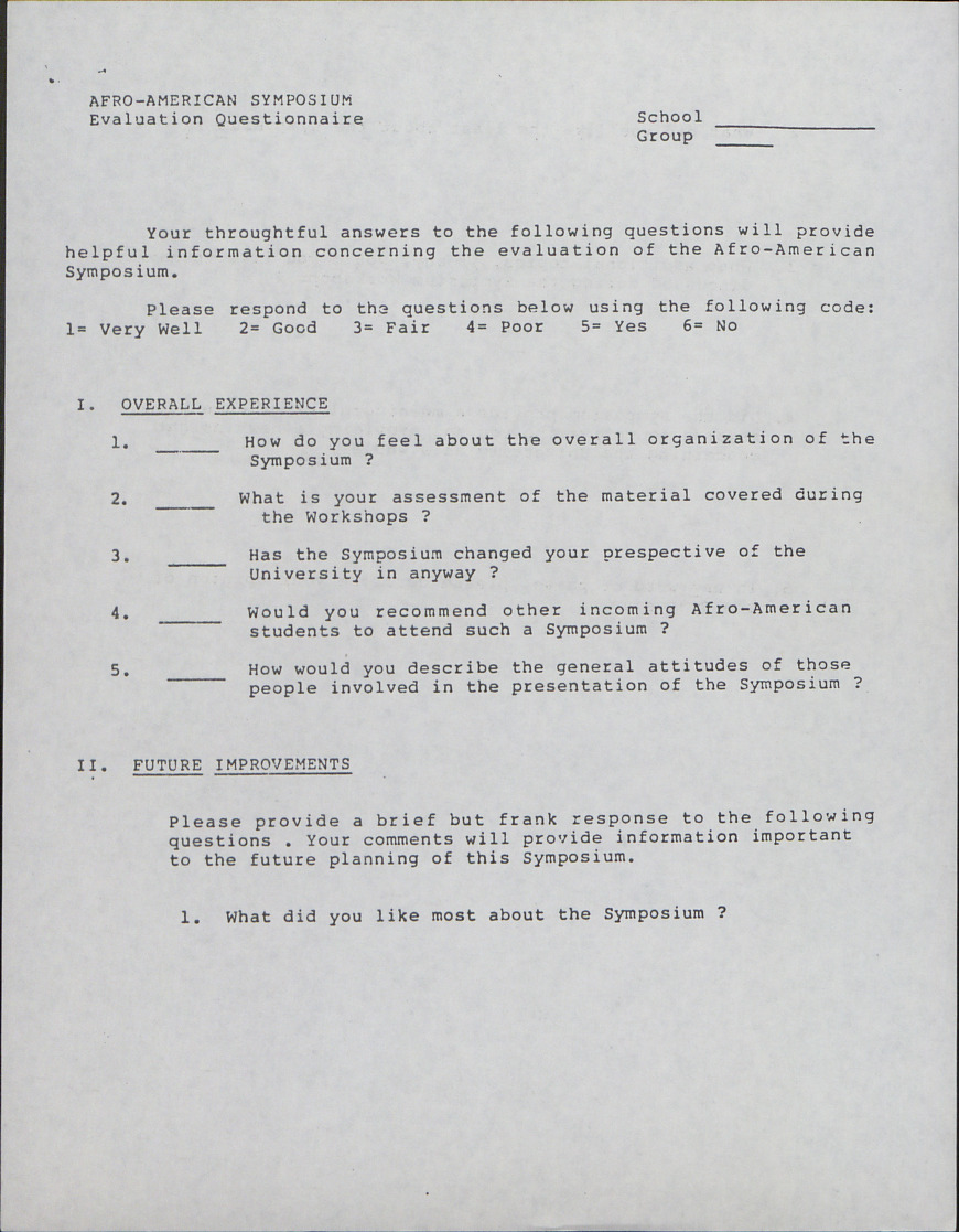 Afro-American Symposium, Evaluation Questionnaire (2 of 2) :: Correspondence