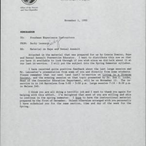 Sexual Assault and Rape Awareness :: Correspondence