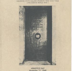 Dedication of Shrine Room and Memorial Plaque, Alumni Memorial Tower, November 11, 1949