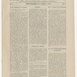 Alumni News, Vol. 1 No. 7, May 1, 1918
