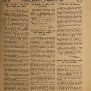 Alumni News, Vol. 3 No. 1, November 1, 1919