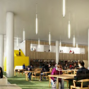 James B. Hunt Library rendering -- Main Reading Room