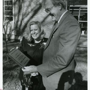Provost Nash Winstead and Director of Libraries Susan Nutter at dedication of Yoshino cherry trees, December 1989