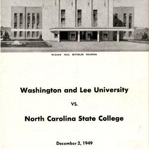 Program, Men's basketball, North Carolina State versus Washington and Lee, 2 December 1949