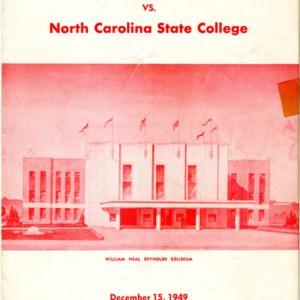 Program, Men's basketball, North Carolina State versus Loyola, 15 December 1949