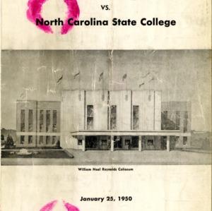 Program, Men's basketball, North Carolina State versus Louisville, 25 January 1950