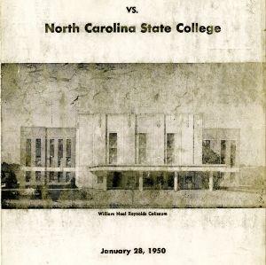 Program, Men's basketball, North Carolina State versus Virginia Polytechnic, 28 January 1950