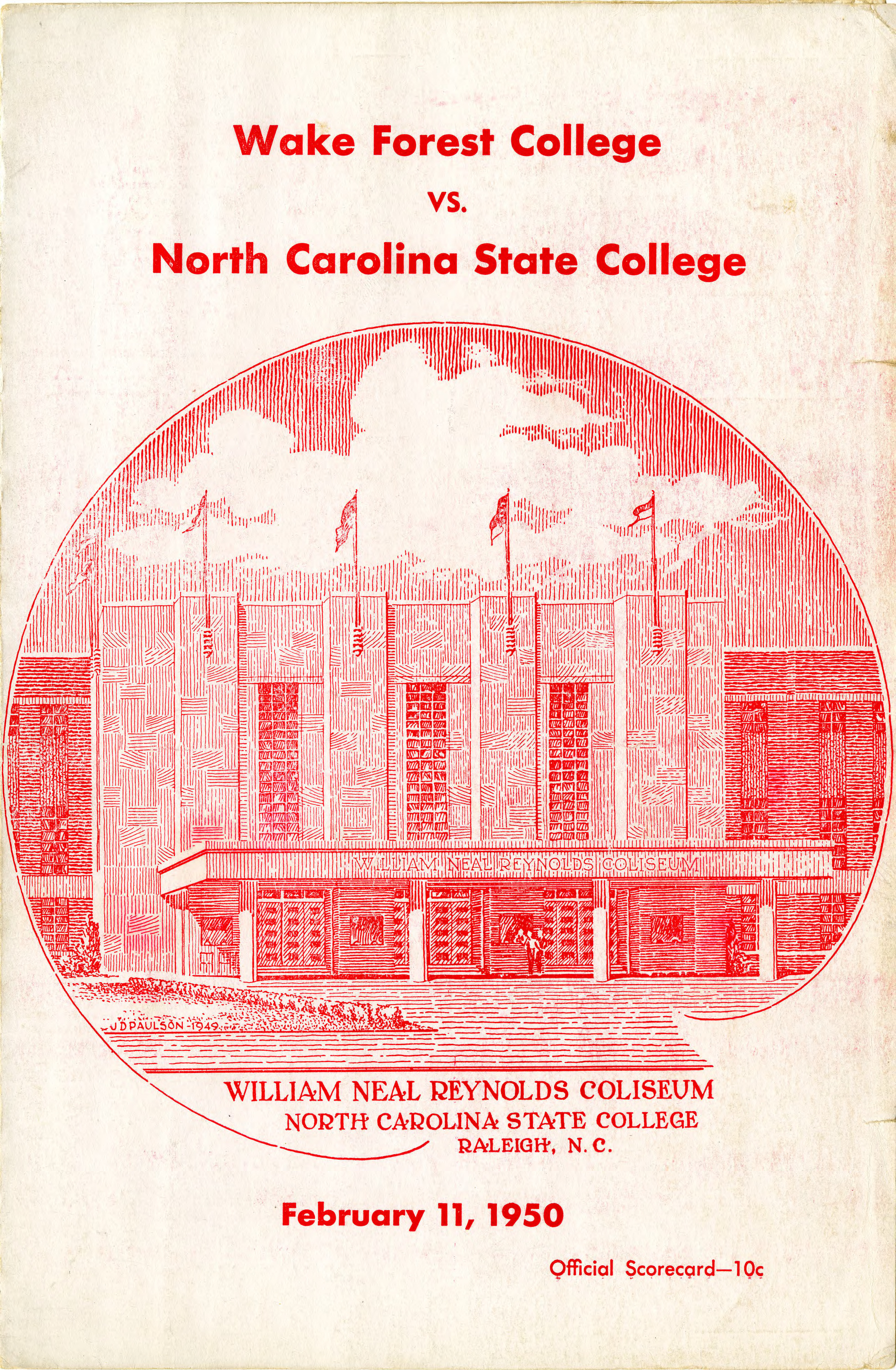Program, Men's basketball, North Carolina State versus Wake Forest, 11 February 1950