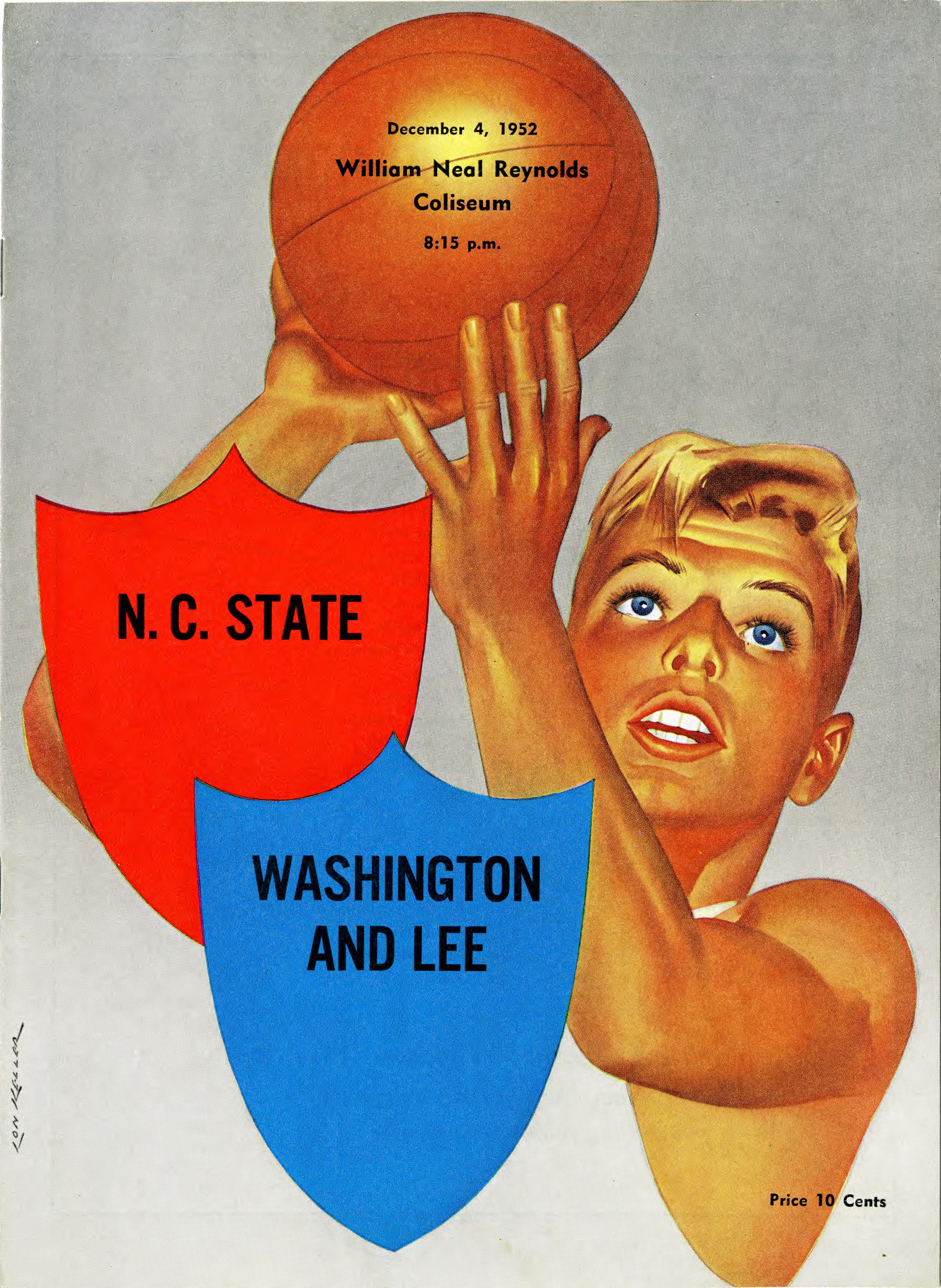 Program, Men's basketball, North Carolina State versus Washington and Lee, 4 December 1952