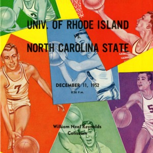 Program, Men's basketball, North Carolina State versus Rhode Island, 11 December 1952