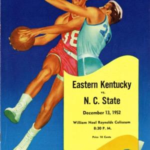 Program, Men's basketball, North Carolina State versus Eastern Kentucky, 13 December 1952