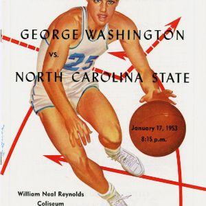 Program, Men's basketball, North Carolina State versus George Washington, 17 January 1953