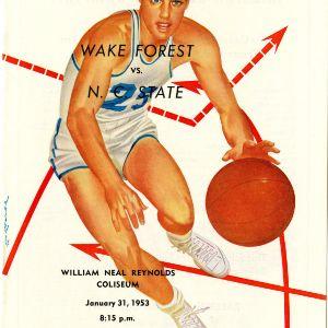 Program, Men's basketball, North Carolina State versus Wake Forest, 31 January 1953