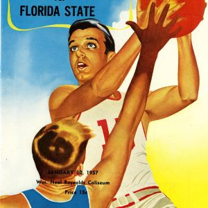 Program, Men's basketball, North Carolina State versus Florida State, 10 January 1957