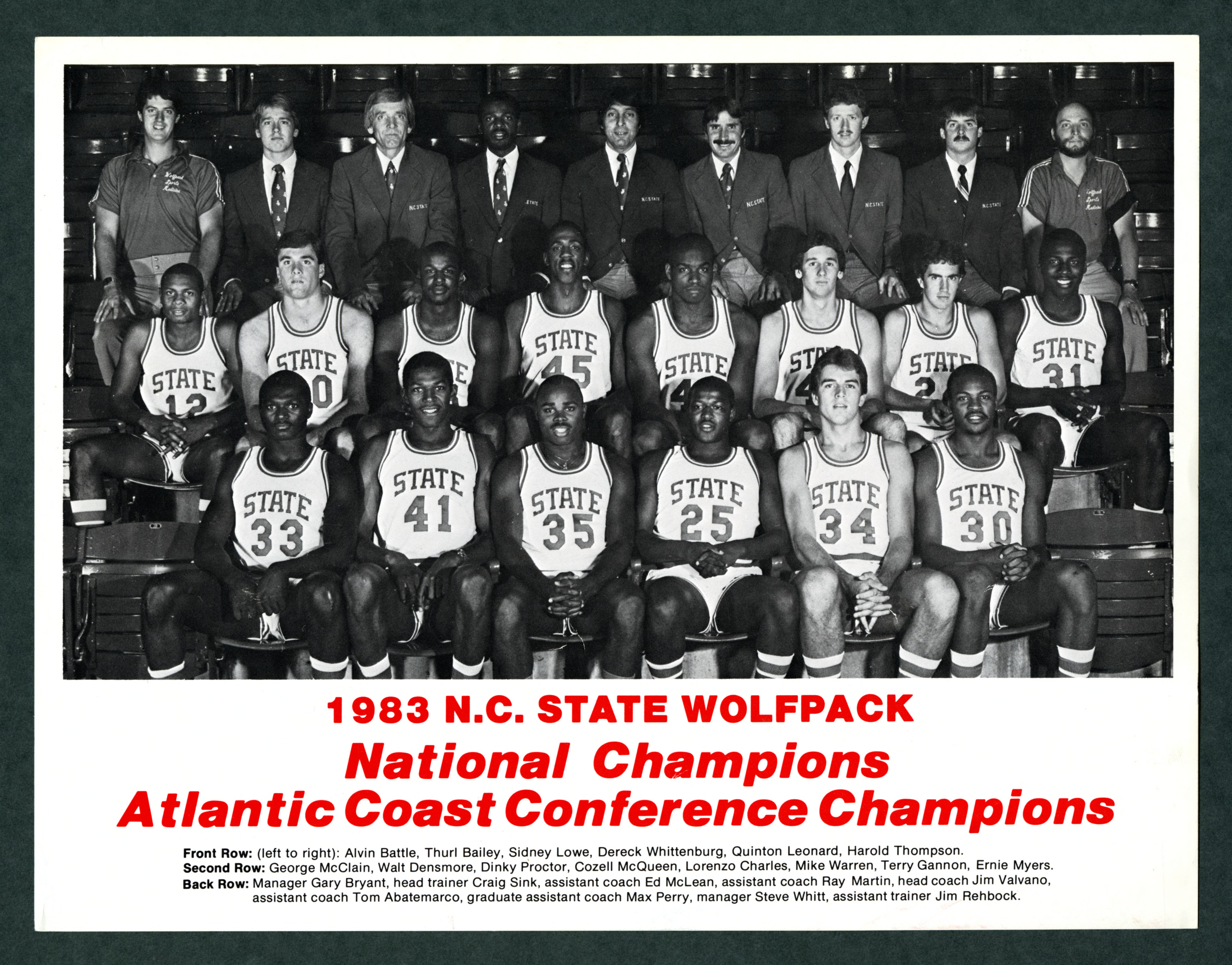 Men's basketball team roster, 1983 season