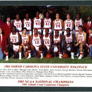 Postcard, Men's basketball, North Carolina State, 1983 season