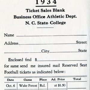 Ticket Sales Blank, Football, North Carolina State, 1934