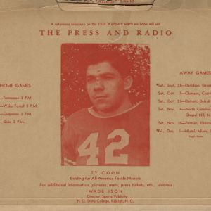 Media guide, Football, North Carolina State, 1939 season