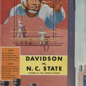 Program, Football, North Carolina State versus Davidson, 10 October 1953