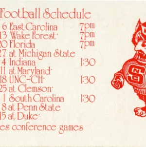 Schedule, Football, North Carolina State, 1975 season