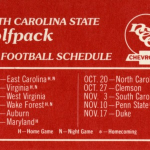 Schedule, Football, North Carolina State, 1979 season