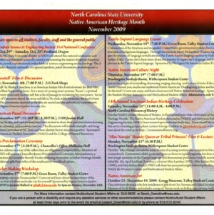 North Carolina State University, Native American Heritage Month Schedule, November 2009