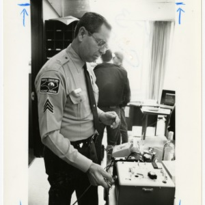 Sergeant Ben Oakes with breathelizer