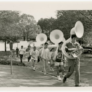 NC State pep band after practice Monday afternoon
