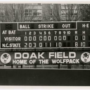 Doak field scoreboard of Pack no-hitter